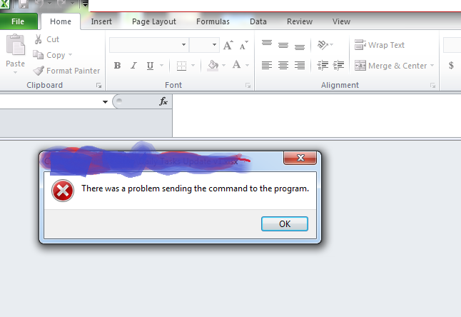 microsoft excel problem sending command to the program